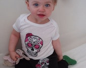 Olivia Paige - Little punk rock sugar skull tattoo   Rockabilly  bodysuit