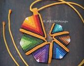 Fiber pendant ORANGE RAINBOW SPIRAL, colorful cavandoli macrame necklace