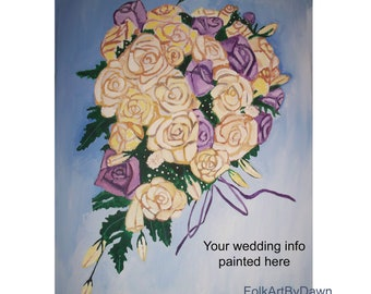 Wedding Bouquet Painting Guest Sign in book Flowers Custom Canvas