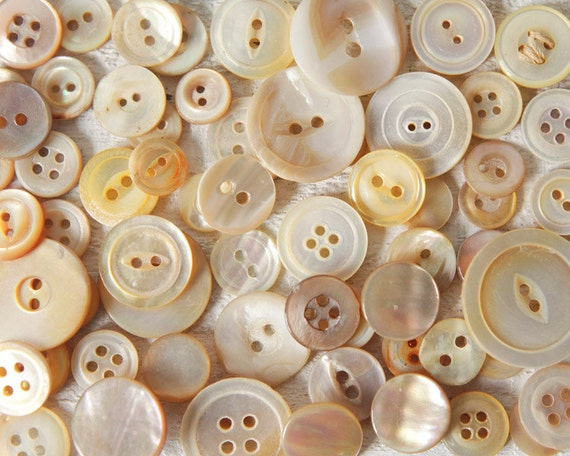 Golden Mother of Pearl Buttons - Lot of over 50 Vintage Shell Buttons