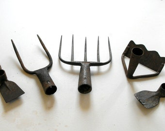 5 French Antique Gardening Farming  or Gardening Tools Found Sculpture Instant Collection