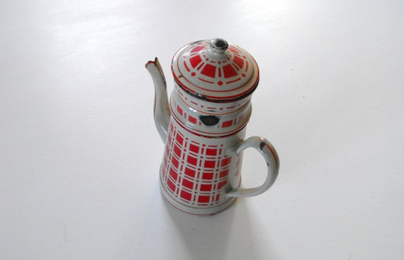 Antique French Enamelware Coffee Pot