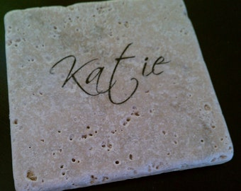 "Personalized Coasters, Custom Coasters 4"" x 4"" Tumbled Stone, Natural Stone, Monogrammed Coasters, Gifts under 20"