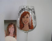 Hand Painted Cartoon Portrait  Wine Glass Birthday Bridesmaid Wedding Glass Beer Personalized
