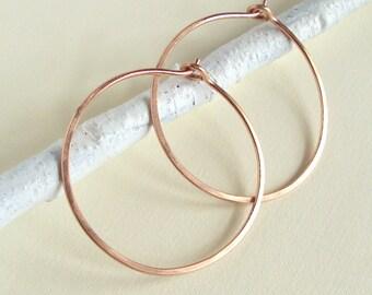 Rose Gold Hoop Earring, Hammered Hoops, 1 1/4 inch Hoops, Small Hoops