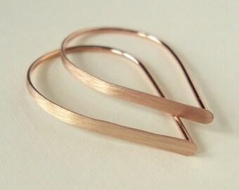 Flat Front Rose Gold Hoop Earrings, Extra Small Brushed Teardrop Hoops, Threader Earrings