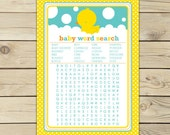 Rubber Ducky Baby Shower Word Search Game Printable - Instant Download - Rubber Duck Baby Shower Game - Neutral Gender Baby Shower Activity