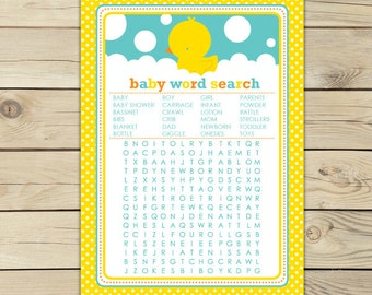 Rubber Ducky Baby Shower Word Search - Instant Download - Neutral Baby Shower Games Printable - Yellow Baby Shower Activity - Aqua Blue