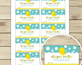 Rubber Ducky Baby Shower Diaper Raffle Tickets - Neutral Baby Shower Games - Instant Download - Aqua Blue Yellow - Invitation Insert Card