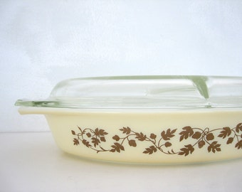 Pyrex Gold Acorn Divided Baking Dish Golden 1960s Woodland