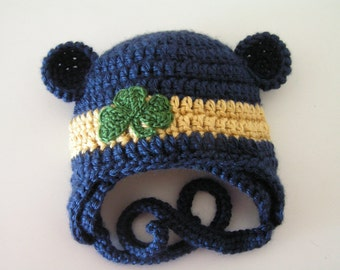Notre Dame Baby hat for 12 months to 3T St. Patrick's Day shamrock or Notre Dame Irish colors - Choose one