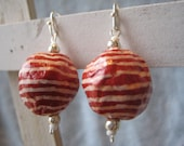 Recycled Newspaper Red & White Dangle Earring