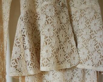 Biba Vintage Cream Lace Peplum Top and Maxi Skirt 1960s Wedding Dress