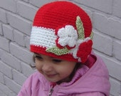 PDF Instant Download Crochet PATTERN No 034 Red Flower Hat all sizes baby toddler child adult