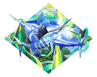"Superspatial Sailfish - 12"" x 12"" Giclée Print"