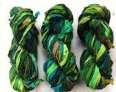Recycled sari silk ribbon. 50g. Art yarn. Forest. Beautiful quality pure silk sari yarn. Unique ethical yarn.