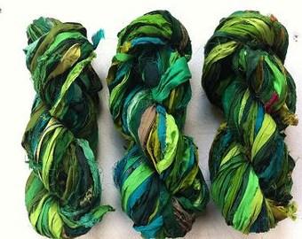 Recycled sari silk ribbon. 100g. Art yarn. Forest. Beautiful quality pure silk sari yarn. Unique ethical yarn.