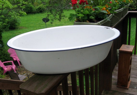 vintage enamel pan baby bathtub french chic planter by mimikee. Black Bedroom Furniture Sets. Home Design Ideas