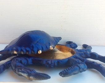 Cast Iron Crab Key Hider Holder-Nautical Blue Gold-Garden Decor-Boys Room-Beach Decor-Ocean Decor-Men-Spring Home Decor-For Dad-Rustic Beach