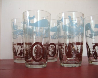 Cape Cod New England Themed Vintage Drinking Glasses Tumblers Set of 6