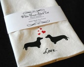 Dachshund Tea Towel, Screen Printed, Valentines Day Gift, Mothers Day Gift, Gifts for Mom - Dachsunds in Love