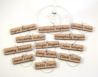 Wine Glass Charms - Classic Hollywood Stars