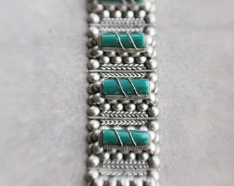 Vintage 30's/40's Mexican Silver with Carved and Wired Green Onyx