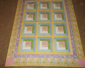 Touch of Spring Log Cabin Patchwork Quilt