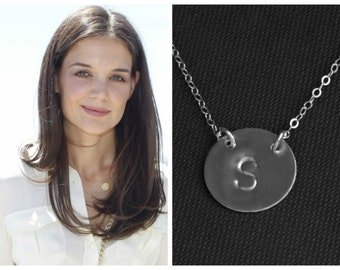 Large Initial Necklace, Monogram Necklace, Initial Necklace, Sterling Silver Disc, Personalized Jewelry, Celebrity Jewelry