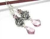 Light Amethyst Earrings Baroque Crystal Jewelry