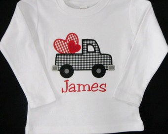 VALENTINES SALE** Personalized Monogrammed Boutique Valentines Day Truck Applique Boys Shirt