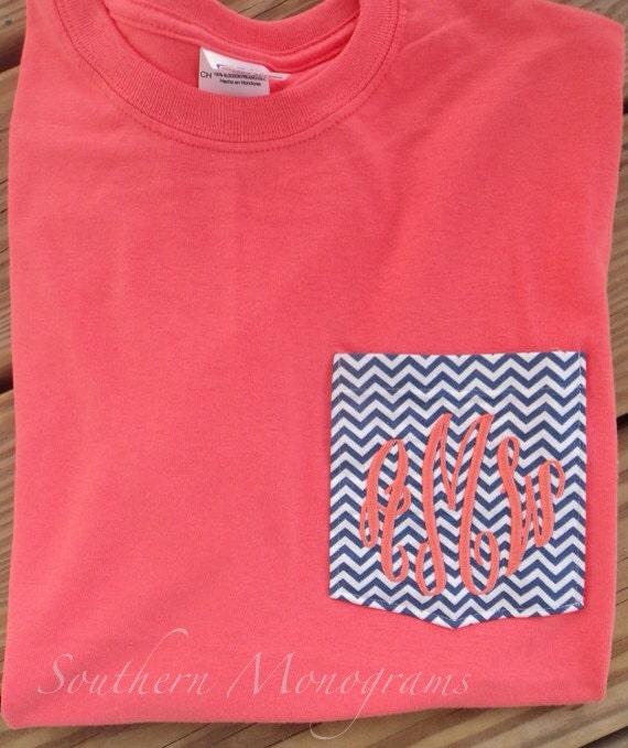 Monogrammed personalized fabric pocket t shirt tshirt tee initials