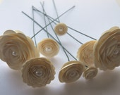 Pearl Sand Ivory Rose Spiral Paper Bouquet for Weddings, Bouquets, Events and Crafts