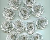 White Music Sheet Handmade Large Rose Paper Flowers