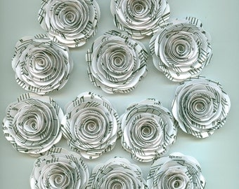 White Music Sheet Handmade Large Rose Paper Flowers