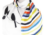 Silk Scarf Black Bird Minimalist Style Oblong Women Scarf Clean Look Accessory Stripes Multicolor Black And White Scarf Birds Lovers