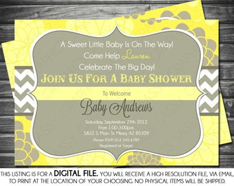 Gender Neutral Baby Shower Invitation - Modern, Yellow, Floral Print, Chevron, Mums, Printable, Digital