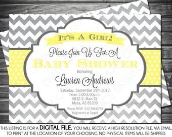Girls Baby Shower Invitation - Chevron, Gray, Yellow, Printable, Digital