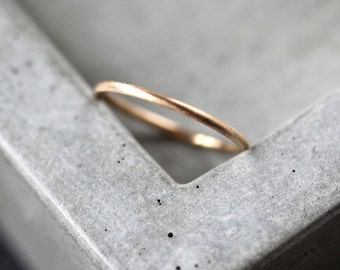 Women's Slim Gold Wedding Band, Skinny Round Recycled 14k Yellow Gold Ring Brushed Gold Wedding Ring or Stacking - US Size 4