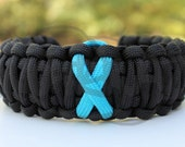 Ovarian Cancer TEAL or TURQ Awareness Ribbon King Cobra 550 Paracord Survival Strap Bracelet Anklet with Buckle