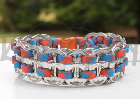 OKC Thunder Oklahoma City Upcycled Pop Tab 550 Paracord Survival Strap Bracelet Anklet w Buckle