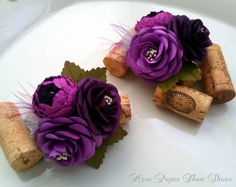 Corsage - Boutonnieres - Paper Flowers - Weddings - Bridal Shower - Baby Shower - Royal Purple - Made To Order