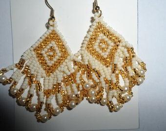 Cream and Gold Seed Beaded Earrings