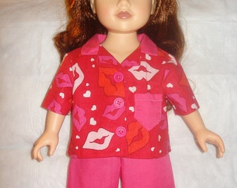 Red short pajamas set in kiss print for 18 inch Dolls - ag153