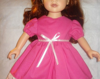 Party dress in bright pink with lace trim for 18 inch Dolls - ag148