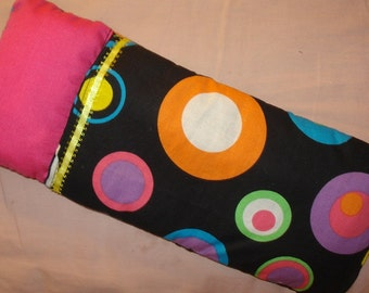 Fashion Doll sized sleeping bag in a color circle print with pink pillow - bsb8