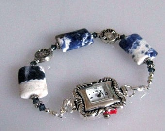 Beaded Watch Band: Women's Blue and White Stone Beaded Interchangeable Watch Band, Medical ID Bracelet