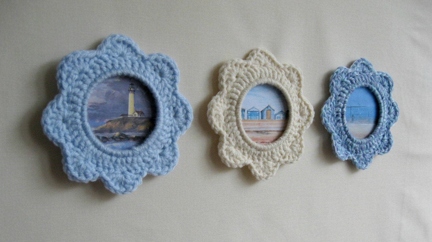 Oceanview Set Of 3 Crochet Picture Frames