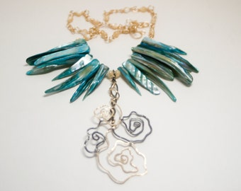 Bright Blue and Gold Brass Flower Fringe Talon Necklace - The Fringe Collection - Bird of Paradise - Art Jewelry by Sarah McTernen