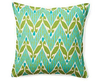 Pillow Cover Cushion 20x20   aqua chartreuse chevron ikat geometric  pattern, other sizes available, pick your color